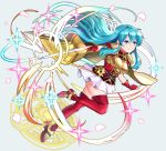 1girl absurdres aqua_hair armor boots breastplate cape earring_removed eirika_(fire_emblem) fighting_stance fingerless_gloves fire_emblem fire_emblem:_the_sacred_stones gloves highres holding holding_sword holding_weapon huge_filesize long_hair rapier red_gloves red_legwear sarukaiwolf short_sleeves signature simple_background skirt solo sword thigh-highs thigh_boots weapon white_skirt zettai_ryouiki