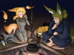 1boy 1girl absurdres animal_ears barefoot blonde_hair blue_kimono blush bodysuit breasts closed_eyes commentary_request cross-legged doitsuken energy_gun facial_hair fire fox fox_ears fox_tail grey_bodysuit hand_on_own_cheek headwear_removed helmet helmet_removed highres japanese_clothes kimono looking_at_another medium_breasts mustache orange_fur orange_hair original ponytail ray_gun science_fiction seiza short_hair sitting sweatdrop tail teapot tears time_travel weapon