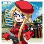 1girl beret black_gloves blue-framed_eyewear blue_cky clipboard clouds coat enta_girl falcoon fur_collar glasses gloves hair_ornament hairclip hat highres kimi_wa_hero logo long_hair official_art outline outling promotional_art red_coat red_hat school smile snk solo uniform upper_body white_outline