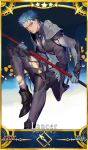 1boy armor blue_hair bodysuit cosplay earrings fate/grand_order fate/stay_night fate_(series) jewelry lancer male_focus pauldrons polearm red_eyes rei_(sanbonzakura) scathach_(fate/grand_order) scathach_(fate/grand_order)_(cosplay) solo spear torn_legwear weapon