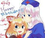 2girls :d bangs birthday blonde_hair blue_eyes blush bow commentary_request dated hair_between_eyes hair_bow hand_on_another's_shoulder hat looking_at_another looking_at_viewer mana_(gooney) medicine_melancholy multiple_girls nurse_cap open_mouth signature silver_hair simple_background smile text touhou white_background yagokoro_eirin