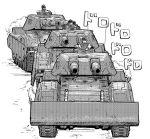 3boys greyscale ground_vehicle gundam military military_vehicle monochrome motor_vehicle multiple_boys orzer tank type_61_(gundam)