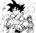 1boy arc_system_works arm_strap commentary company_connection cosplay dragon_ball dragon_ball_fighterz dragonball_z fingerless_gloves forehead_protector gloves guilty_gear headband highres kenshin187 male_focus muscle popped_collar sol_badguy sol_badguy_(cosplay) solo son_gokuu spiky_hair