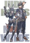 animal_ears character_name cyborg fox fox_ears full_body highres holding_pistol judy_hopps looking_at_another mecha mechanization nick_wilde no_humans police rabbit rabbit_ears standing subaru_(jkworks) zootopia