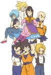 3girls 5boys android_18 annoyed aqua_eyes armor arms_behind_back baby bald belt black_eyes black_hair black_shirt black_shoes blonde_hair blue_eyes blue_hair boots bulma chi-chi_(dragon_ball) child chinese_clothes closed_eyes couple dougi dragon_ball dragonball_z earrings eyebrows_visible_through_hair father_and_son frown gloves hand_on_own_face hands_on_hips happy highres jewelry kuririn looking_at_another looking_at_viewer looking_away looking_down mother_and_son multiple_boys multiple_girls necklace open_mouth outstretched_arms outstretched_hand pants pearl_necklace serious shirt shoes short_hair simple_background sitting smile son_gohan son_gokuu spiky_hair standing super_saiyan sweatdrop text tied_hair tkgsize trunks_(dragon_ball) vegeta waistcoat white_background white_shirt wristband