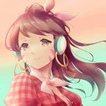 1girl alternate_costume bangs breasts brown_eyes brown_hair cleavage closed_mouth collarbone cruiser_d.va d.va_(overwatch) earrings eyebrows_visible_through_hair floating_hair gradient gradient_background head_scarf headphones hoop_earrings jewelry long_hair looking_at_viewer medium_breasts overwatch pink_lips plaid plaid_shirt ponytail puffy_sleeves red_shirt shirt smile solo swept_bangs upper_body wind zhong_chai