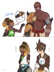 ... 1girl 2boys 2koma abs areolae armor bald bare_shoulders bomber_jacket brown_hair brown_jacket clenched_hand comic dark_skin dark_skinned_male doomfist_(overwatch) facial_hair fist_bump goatee goggles hairlocs harness headphones headphones_around_neck high_ponytail highres jacket leather looking_at_another lucio_(overwatch) multiple_boys muscle overwatch shirtless simple_background spiky_hair spoken_ellipsis sweatdrop tank_top tattoo tracer_(overwatch) twitter_username visor white_background
