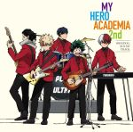5boys aizawa_shouta album_cover bakugou_katsuki black_hair blonde_hair boku_no_hero_academia cover drum drum_set formal glasses green_hair highres iida_tenya instrument keyboard_(instrument) male_focus midoriya_izuku multicolored_hair multiple_boys music necktie official_art opaque_glasses playing_instrument red_necktie red_suit simple_background smile spiky_hair suit tan_background todoroki_shouto two-tone_hair