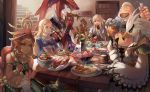 2girls beak blonde_hair crab dark_skin dinner eating feeding fish food gerudo goron link link_(wolf) meat monster_boy multiple_girls plate princess_zelda riju rito sidon sitting stairs steam syn_(kuponutt) table teba_(breath_of_the_wild) the_legend_of_zelda the_legend_of_zelda:_breath_of_the_wild wolf yunobo zora