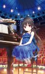 1boy 1girl absurdres bangs bare_shoulders blue_bow blue_dress blue_ribbon blunt_bangs blush bow brown_hair chair collarbone crescent crescent_earrings cura dress earrings eyebrows_visible_through_hair flower frilled_legwear frills full_body gloves grand_piano hachiroku_(maitetsu) hair_bow hair_ribbon hands_on_lap highres indoors instrument jewelry leaf long_hair looking_at_viewer maitetsu night night_sky piano plant red_eyes red_shoes ribbon rose sash sheet_music shoes sitting sky smile solo star_(sky) starry_sky strapless strapless_dress very_long_hair white_gloves white_legwear white_rose wooden_floor