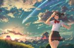 1girl aguy ahoge bangs black_hair blush bow bowtie clouds cloudy_sky collared_shirt comet cowboy_shot grass kimi_no_na_wa looking_up miyamizu_mitsuha outdoors parted_lips pleated_skirt ponytail red_bow red_bowtie red_eyes red_string scenery school_uniform shirt shooting_star short_sleeves sidelocks skirt sky smile solo string tareme thighs twilight white_shirt