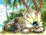 1boy 1girl backpack bag baseball_cap black_hair blonde_hair capri_pants closed_eyes clouds from_behind grass hat lillie_(pokemon) long_hair natsuno_hamuto palm_tree pants pokemon pokemon_(creature) pokemon_(game) pokemon_sm ponytail shirt short_hair short_sleeves skirt sky sleeping solgaleo squatting striped striped_shirt tree white_shirt white_skirt you_(pokemon_sm)