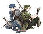2boys armor armored_boots arrow artist_name back-to-back blue_eyes blue_hair boots bow_(weapon) fingerless_gloves force_(fire_emblem) gloves green_eyes green_hair male_focus multiple_boys open_mouth paison polearm simple_background sitting spear teeth weapon white_background