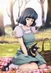 1girl artist_name bare_tree black_hair black_shoes blurry blurry_background brown_eyes day grass kneeling looking_at_viewer outdoors p-chan petting picnic_basket pig ranma_1/2 shoes sitting socks sun tendou_akane tree watermark web_address white_legwear