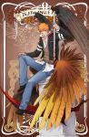 1boy alex_mercer alex_mercer_(cosplay) bleach cosplay denim graphite_(medium) highres jeans kurosaki_ichigo male_focus pants prototype_(game) scythe sitting traditional_media typo wings