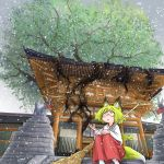 1girl :o absurdres animal_ears blonde_hair broom doitsuken fox_ears fox_girl fox_tail glasses highres holding holding_broom japanese_clothes long_hair looking_up miko open_hand original roots scenery sitting sitting_on_stairs snowing solo stairs statue tail temple tied_hair tree yellow_eyes