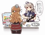10s 2girls bag barcode_scanner blush bottle breasts brown_eyes cash_register cashier employee_uniform grey_hair hat italian_flag kantai_collection lawson long_hair monitor multiple_girls open_mouth pantyhose plastic_bag pola_(kantai_collection) revision tanaka_kusao thick_eyebrows translated uniform wavy_hair wine_bottle zara_(kantai_collection)