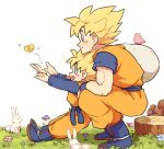2boys aqua_eyes bird blush boots butterfly dougi dragon_ball dragonball_z father_and_son flower flying grass happy kneeling long_sleeves looking_away male_focus multiple_boys nature open_mouth outstretched_hand rabbit sack short_hair simple_background smile son_gokuu son_goten spiky_hair squirrel super_saiyan tkgsize tree_stump white_background wristband