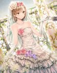 1girl bangs bare_shoulders bridal_veil brown_eyes brown_hair closed_mouth commentary_request dress dsmile eyebrows_visible_through_hair flat_chest flower frilled_dress frills gloves hair_flower hair_ornament hand_holding jewelry misaka_mikoto necklace plant revision rose short_hair skirt_hold solo_focus strapless strapless_dress to_aru_kagaku_no_railgun to_aru_majutsu_no_index veil wedding_dress white_dress white_gloves