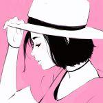 1girl adjusting_clothes adjusting_hat black_hair choker hat ilya_kuvshinov original pink_background profile short_hair solo