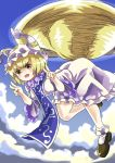 >:o 1girl :o blonde_hair double_v eyebrows_visible_through_hair flying frilled_legwear frilled_skirt frilled_sleeves frills full_body hands_up hat houshiruri looking_at_viewer medium_skirt motion_blur multiple_tails open_mouth parody pillow_hat shirt shoes short_hair skirt socks solo sonic_the_hedgehog tabard tail touhou v white_skirt wide_sleeves yakumo_ran yellow_eyes