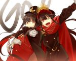 1boy 1girl black_hair cape cis05 commentary_request demon_archer fate/grand_order fate_(series) gloves hat koha-ace long_hair looking_at_viewer military military_hat military_uniform oda_nobukatsu_(fate/grand_order) one_eye_closed open_mouth red_eyes sidelocks smile uniform