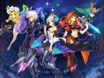 2boys 3girls armor armored_dress bare_shoulders blonde_hair blue_background boots braid butterfly_wings copyright_name cornelius_(odin_sphere) flower furry gwendolyn hair_flower hair_ornament holding holding_spear holding_sword holding_weapon hood leotard long_hair mercedes multicolored multicolored_wings multiple_boys multiple_girls odin_sphere oswald pointy_ears polearm profile shoes short_hair silver_hair spear sword thigh-highs thigh_boots twin_braids veil velvet_(odin_sphere) violet_eyes weapon white_hair white_shoes wings yeruen