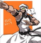 1boy 2017 arm_strap backpack bag beard black_hair brown_eyes evolution_championship_series facial_hair fighting_stance goatee makai muscle rashid_(street_fighter) scouter sleeveless solo street_fighter street_fighter_v turban