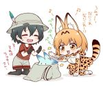 2girls animal_ears backpack backpack_removed bag black_gloves black_hair black_legwear blush bow bowtie bucket_hat chibi closed_eyes commentary_request elbow_gloves gloves hat hat_feather high-waist_skirt in_bag in_container kaban_(kemono_friends) kemono_friends kneeling lucky_beast_(kemono_friends) migu_(migmig) motion_lines multiple_girls open_mouth orange_eyes orange_hair pantyhose red_shirt serval_(kemono_friends) serval_ears serval_print serval_tail shirt short_hair short_sleeves shorts simple_background skirt sleeveless sleeveless_shirt striped_tail swatting tail thigh-highs translation_request white_background