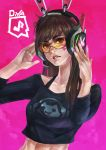 1girl absurdres brown_eyes brown_hair cameo casual commentary crop_top d.va_(overwatch) eyelashes headphones headset highres lips listening_to_music long_hair lucio_(overwatch) monori_rogue nail_polish overwatch pink_background pink_nails solo sunglasses whisker_markings
