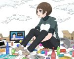 1girl book boombox bottle box brown_eyes brown_hair can clouds commentary_request computer english jacket laptop newspaper original shoes short_hair sitting sneakers solo tagme television track_jacket translation_request yajirushi_(chanoma)
