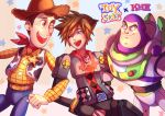 3boys blue_eyes buzz_lightyear highres kingdom_hearts locked_arms male_focus multiple_boys one_eye_closed sheriff_woody smile sora_(kingdom_hearts) spacesuit spiky_hair toy toy_story