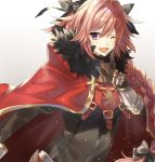 1boy black_bow bow braid cape fang fate/apocrypha fate/grand_order fate_(series) fur_trim hair_ribbon highres male_focus one_eye_closed pink_hair ribbon rider_of_black single_braid tsugutoku violet_eyes