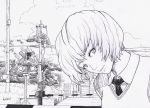 1girl absurdres artist_name ayanami_rei black_necktie clouds day greyscale highres looking_at_viewer monochrome necktie neon_genesis_evangelion outdoors power_lines railroad_crossing salaiix short_hair solo vest