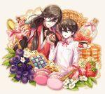 2boys cake candy cookie cupcake food fylus grin horikawa_kunihiro izumi-no-kami_kanesada long_hair looking_at_viewer multiple_boys short_hair smile touken_ranbu
