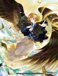 1girl blonde_hair capelet circlet clouds copyright_name curly_hair day dress earrings feathered_wings feathers flower force_of_will green_eyes hair_bun hair_flower hair_ornament jewelry necklace official_art sky solo wings