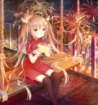 1girl black_legwear blush brown_eyes brown_hair character_request closed_mouth copyright_request eyebrows_visible_through_hair fireworks halo highres lantern long_hair looking_at_viewer sitting smile solo thigh-highs twintails yue_yue