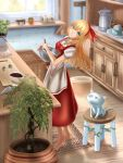 1girl barefoot blonde_hair cactus carpet cat chocolate cooking dress ellen green_eyes highres knife plant shounen_(hogehoge) sokrates_(touhou) touhou touhou_(pc-98) whisk white_cat