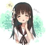 1girl bangs black_ribbon blouse blunt_bangs blush breasts brown_hair closed_mouth collarbone commentary_request eyebrows_visible_through_hair facing_viewer flower gochuumon_wa_usagi_desu_ka? hair_flower hair_ornament hair_ribbon hand_on_own_cheek long_hair medium_breasts moko_(alice) neck_ribbon open_mouth plaid_sailor_collar red_sailor_collar ribbon sailor_collar school_uniform short_sleeves smile solo ujimatsu_chiya upper_body white_blouse white_ribbon