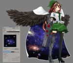 3d arm_cannon armor artist_request black_legwear black_wings boots bow brown_hair cape feathered_wings fushigi_no_gensokyo green_skirt high_heels reiuji_utsuho simple_background skirt thigh-highs thigh_boots touhou weapon white_cape wings zettai_ryouiki