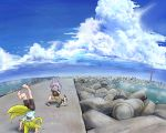 2girls absurdres animal_ears black_pants blonde_hair blue_shirt camera cat child clouds cloudy_sky condensation_trail doitsuken fox_ears fox_tail handstand highres landscape lighthouse looking_at_another multiple_girls multiple_tails ocean one_knee original panorama pants purple_hair red_eyes scenery shirt shore sky slit_pupils tail taking_picture yellow_fur