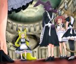 >:o :o :} absurdres animal_ears apron aqua_eyes blush brown_fur brown_hair bunny_girl bunny_tail cat_ears cat_girl cat_tail child dog_ears dog_girl doitsuken fang fox_ears fox_girl fox_tail from_ground high_heels highres long_hair maid maid_apron mansion open_mouth pointing purple_fur purple_hair rabbit_ears red_eyes redhead short_hair stairs tail thigh-highs