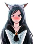 1girl animal_ears backlighting black_hair blush breasts brooch cleavage commentary_request confession embarrassed imaizumi_kagerou jewelry looking_at_viewer nose_blush parted_lips red_eyes simple_background solo sweatdrop tenamaru touhou upper_body white_background wolf_ears