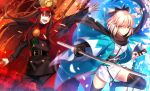 2girls black_bow black_hair black_scarf bow cape demon_archer family_crest fate/grand_order fate_(series) fuyuki_(neigedhiver) hair_bow haori hat holding holding_sword holding_weapon japanese_clothes katana kimono koha-ace long_hair military military_uniform multiple_girls oda_uri open_mouth peaked_cap red_eyes sakura_saber sash scarf shinsengumi short_hair short_kimono sleeveless sleeveless_kimono smile sword uniform weapon white_kimono