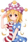 1girl alternate_hair_length alternate_hairstyle american_flag_dress bad_id bad_twitter_id blonde_hair blush closed_mouth clownpiece dress frown hat highres jester_cap neck_ruff polka_dot red_eyes ruu_(tksymkw) short_dress short_hair short_sleeves simple_background solo star star_print striped sweatdrop touhou upper_body white_background