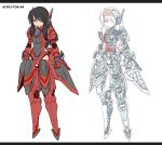 1girl android armor bangs brown_hair dark_toyota_rising highres long_hair phantasy_star phantasy_star_online_2 skeleton tagme