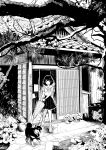 1girl :d architecture boots branch commentary_request dog east_asian_architecture greyscale highres holding holding_umbrella japanese_house leaf leash looking_down monochrome nikaidou_kou open_door open_mouth original pot school_uniform short_hair skirt smile tree umbrella