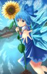 1girl blue_dress blue_eyes blue_hair blue_sky cirno clouds day dress dutch_angle flower hair_ribbon looking_at_viewer luke_(kyeftss) misty_lake mountain outdoors outstretched_hand puffy_short_sleeves puffy_sleeves reaching_out reflection ribbon scarlet_devil_mansion short_hair short_sleeves sky smile solo sunflower touhou wings