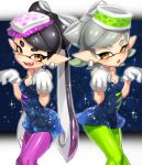 +_+ 2girls aori_(splatoon) black_dress black_hair black_jumpsuit breasts brown_eyes cleavage cousins detached_collar domino_mask dress earrings fangs food food_on_head gloves green_legwear grey_hair hotaru_(splatoon) jewelry long_hair looking_at_viewer mask medium_breasts mole mole_under_eye multiple_girls object_on_head open_mouth parted_lips pointy_ears purple_legwear short_dress short_hair short_jumpsuit smile sparkle splatoon squid squid_pose standing strapless strapless_dress sushi suurin_(ksyaro) symmetrical_hand_pose tentacle_hair unitard white_gloves