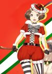 axe bell belt black_gloves brown_eyes brown_hair choker christmas cross-laced_clothes feathers gloves hat highres holly mismatched_legwear okumura_haru open_mouth persona persona_5 poco_(backboa) ribbon sack striped striped_legwear vertical-striped_legwear vertical_stripes weapon